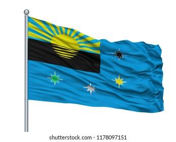 Khmelnytskyi Oblast City Flag On Flagpole, Country Ukraine, Isolated On White Background