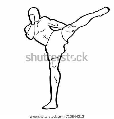 Kick Box Drawing Stock Illustration