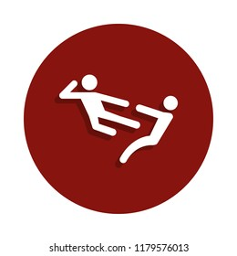 kick in flight icon in badge style. One of Fight collection icon can be used for UI, UX on white background