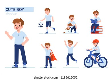 Kid boy character in different poses. Flat cartoon style illustration isolated on white background.