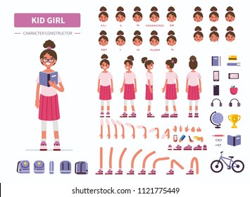 Kid girl character constructor for animation. Front, side and back view. Flat  cartoon style illustration isolated on white background.