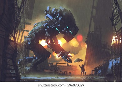 kid giving umbrella to giant robot in the rainy night,illustration painting