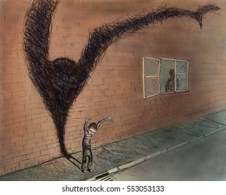 Kid playing on the street, casting a monster silhouette shadow on a brick wall.