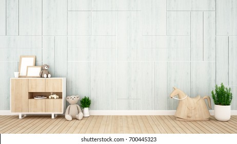 kid room or nursery on light blue wall decorate - interior design for artwork - 3D Rendering