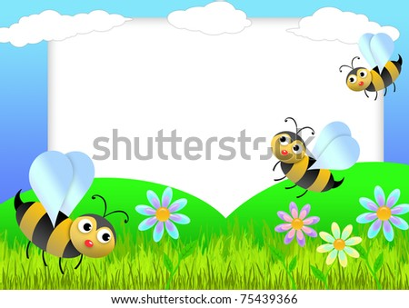 Kid Scrapbook Bees Flowers Photo Frames Stock Illustration 75439366 ...