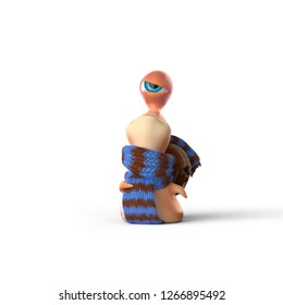 Kid snail is swaggering mood white background. 3d rendering. Kid snail openly shows his emotions. He feels himself important and swaggering. He doesn`t cover and clamp his feelings.