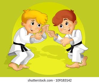 The kid training - martial art - sport - illustration for the children