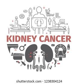 Kidney Cancer Symptoms. Symptoms, Causes, Treatment. IllustrationIcons.
