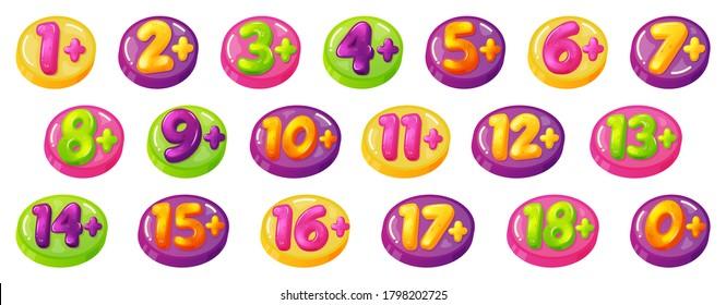 Kids age restrictions. Childrens age limit signs, figures game or movie content permission badges. Age limit baby stamps  illustration icon set. Child limit prohibition, age plus badge