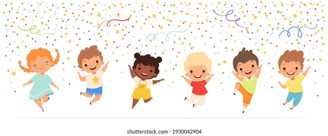 Kids anniversary. Happy childrens jumping in confetti stars celebration fun party time teenagers characters