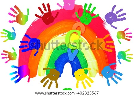 Kids Art Craft Colorful Hand Prints Stock Illustration Royalty
