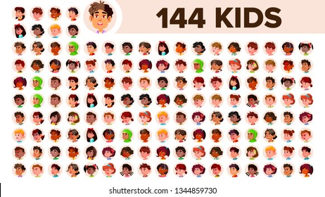 Kids Avatar Set . Girl, Guy. Multi Racial. Face Emotions. Multinational User People Portrait. Male, Female. Ethnic. Icon Asian African European Arab Flat Illustration