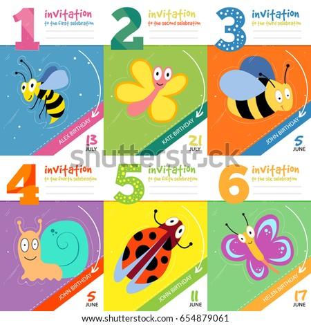 Kids birthday invitation cards cute bugs stock illustration kids birthday invitation cards with cute bugs insects set of invitation to birthday illustration filmwisefo