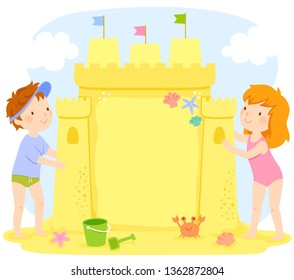 Kids building a sand castle at the beach. The castle contains copy space.