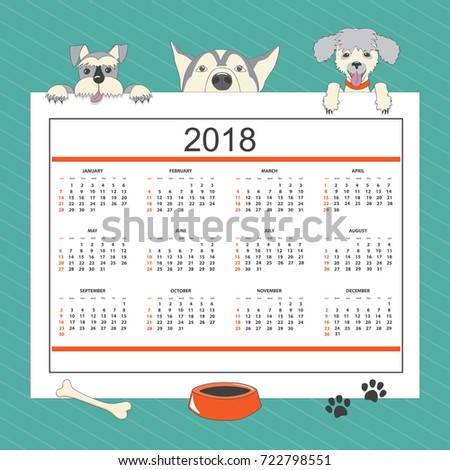 kids calendar for wall year 2018 with three cartoon dogs english language classic american