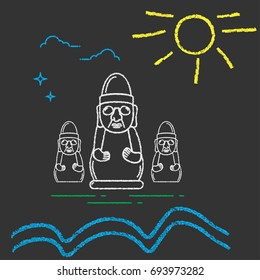 Kids Chalk Draw Imitation Illustration for Jeju Island Promotion: Rock or Stone Grandfather Statue, known as Dol Hareubang or Harubang, sun and sea waves. Jeju Harubang Rock Statue.