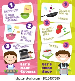 Kids cooking vertical banners set with flat cartoon style teenager characters and cards with cooking tips  illustration
