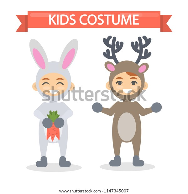 Kids costumes set. Babies in animal outfit. Rabbit and deer.