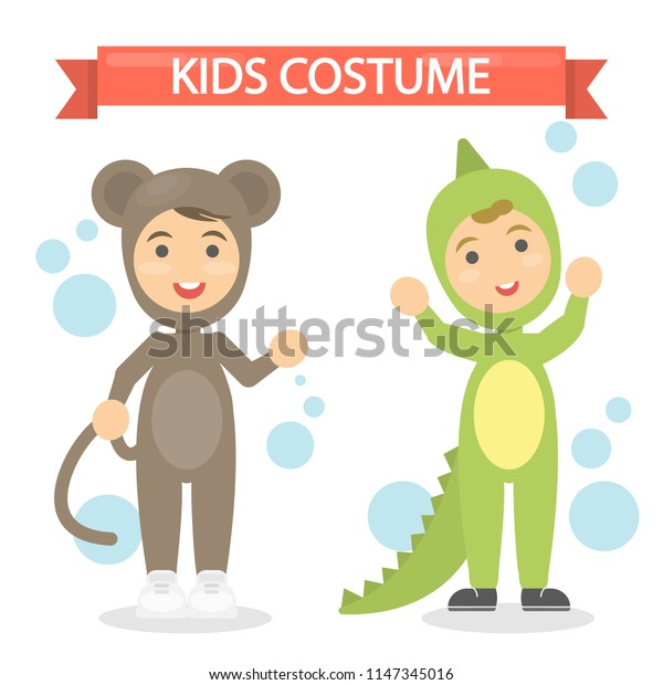 Kids costumes set. Babies in animal outfit. Monkey and lizard.