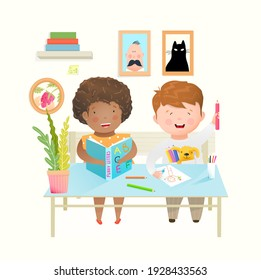 Kids at desk at school or kindergarten study, learn and draw. Happy laughing friends boy and girl at school happy education.