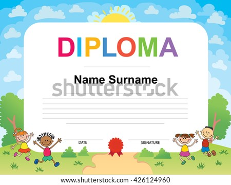 kids diploma certificate background design templateのイラスト素材