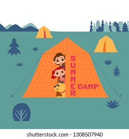 Kids and dogs summer camp concept. Cute colorful cartoon. Happy children boy, girl, dog pet in camping tent. Vacation season outdoor sports and fun for childs and domestic canines. Quirky illustration