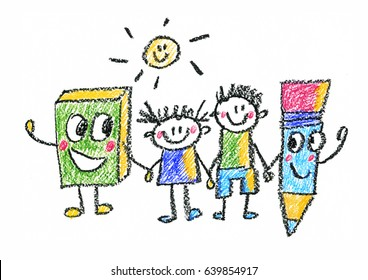 Kids drawing Back to school Children education, school, kindergarten Play Study Learn Boys and Girls