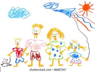 Kid's drawing Happy Family