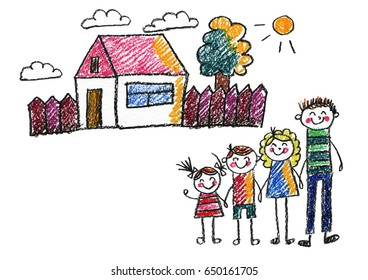 Kids Drawing Happy Family Mother Father Stock Illustration 650749660