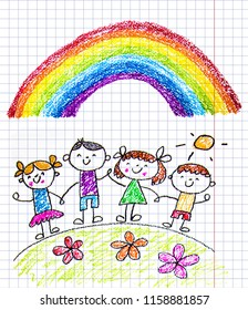 Kids drawing image. Little children, boys and girls. School, kindergarten illustration. Play and grow. Teacher with students.