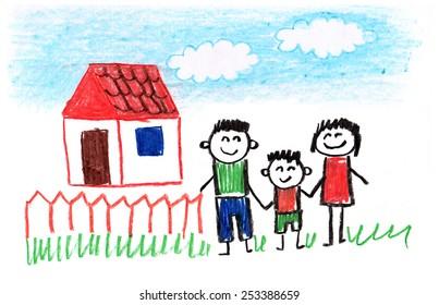 Kids drawings. Happy family