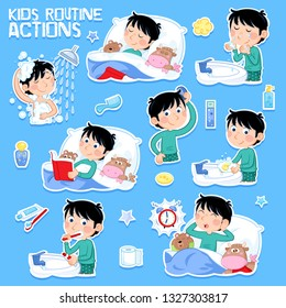 Kids and eight daily routines - Lovely little boy with dark hair and his toys - Multicultural - Isolated