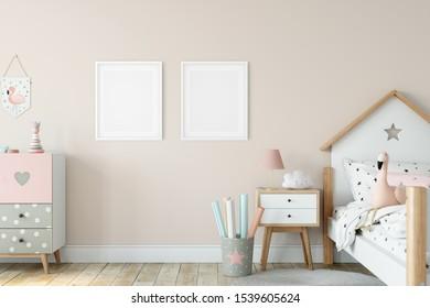 Kids Frame & Poster mockup. Scandinavian interior. 3d rendering, 3d illustration