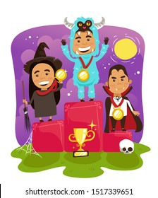 Kids Halloween Costume Contest Winners,  Best in Halloween Costume Awards, Vampire and Witch and Abominable  Snowman Costumes,  Halloween  Party Celebration - Vector