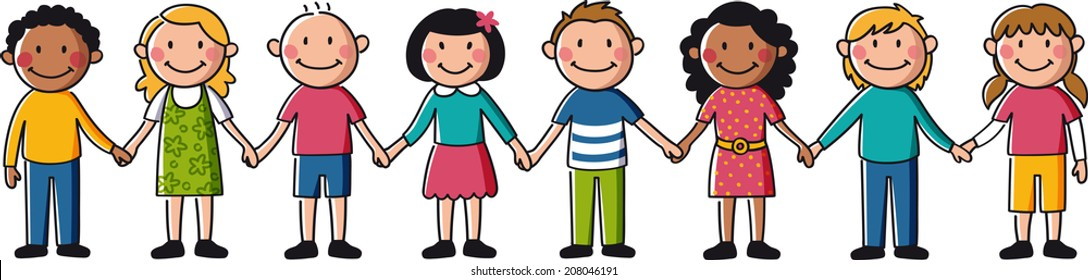 Kids Holding Hands Stock Illustration 208046191