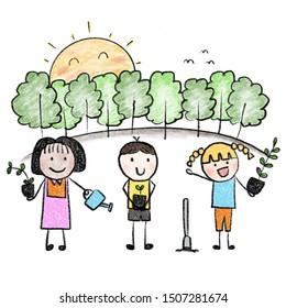 kids holding a tree  to plant  trees save the planet. childlike drawing style.