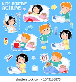 Kids and hygiene - Eight daily routine actions - Cute boy with ginger hair and little girl with dark hair - Isolated on the blue background