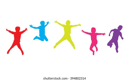 Kids jumping. Children jumping. Five Boys jumped. Colorful figures, silhouettes on white background. Children Holiday, teen, school Sport. For Art Print web design. World environment day. Health kids.
