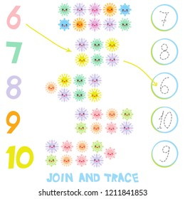 Kids learning number material 6 to 10. Join and Trace. Illustration of Education Counting Game for Preschool Children. Kawaii snowflake set blue mint orange pink lilac funny face with eyes. illustrati