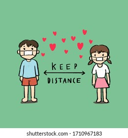 """A kid's line drawing of a boy and a girl   standing apart from each other with many small hearts between them during the fight against coronavirus and COVID-19 pandemic with text says """"keep distance""""."""
