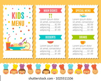 cute colorful kids meal menu vector stock vector royalty free