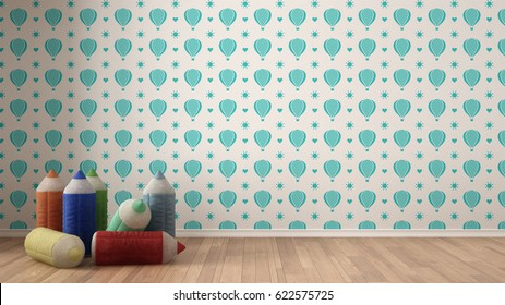 Kids minimalist colorful background with stuffed colored pencils on parquet flooring, child room nursery, turquoise and white wallpaper, interior design, 3d illustration