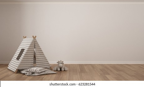 Kids minimalist white background with child tent, blanket pillow and toy on parquet flooring, child room nursery interior design, 3d illustration