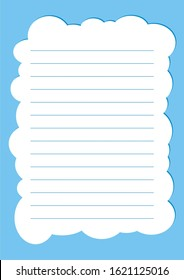 Kids notebook page template vector, Template cover, worksheet,  notepaper.