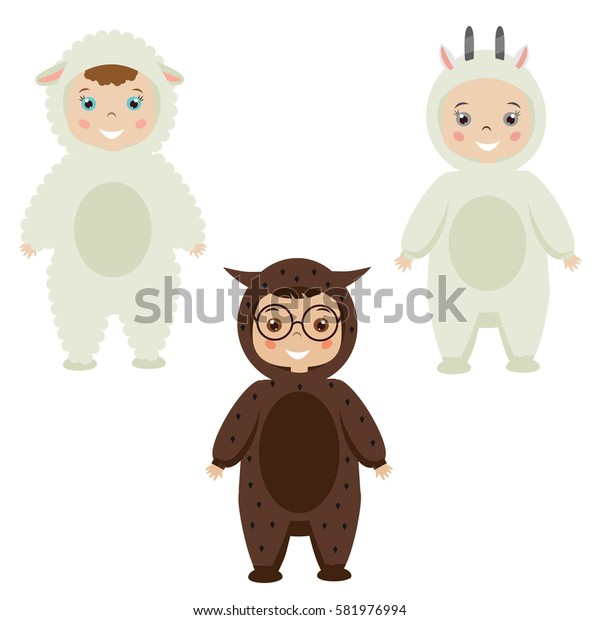 Kids party outfit. Cute smiling happy children in animal carnival costumes, illustration. Isolated children in sheep, owl, goat clothes
