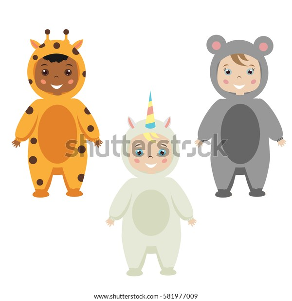 Kids party outfit. Cute smiling happy children in animal carnival costumes, illustration. Isolated children in giraffe, mose, unicorn clothes