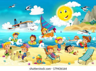 The kids playing at the beach, diving, building in sand - ocean - sea - illustration for the children