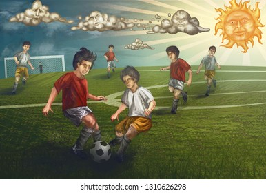 kids playing soccer on sunny day