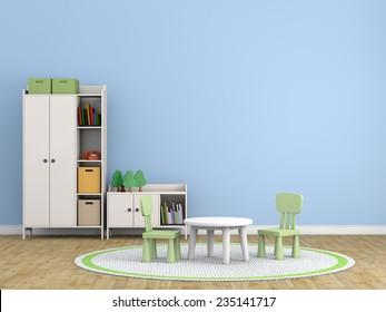 kids room 3d rendering image