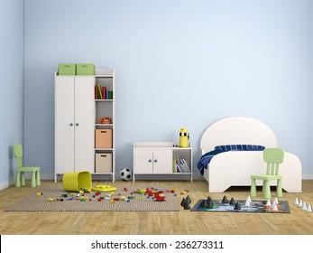 kids room bed room Interior 3d rendering image